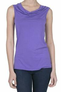 iliad USA Women's Cowl Neck Ruched Draped Blouse Tank Top