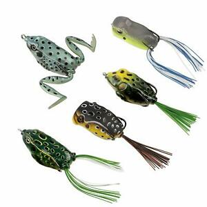 RUNCL Topwater Frog Lures Soft Fishing Lure Kit with Tackle Box for Bass Pike
