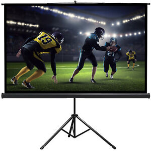 Projector Screen TV HD Large Movie Screen Tripod Stand 16:9 100 inches