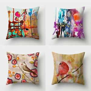 18inch Painting Polyester Pillow Case Throw Waist Sofa Home Decor Cushion Cover