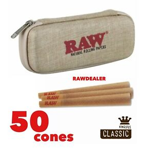 RAW Classic King Size Pre Rolled Cones 50 Pack AUTHENTIC raw Cone Wallet