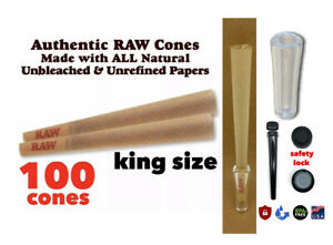 Raw King Size classic pre Rolled Cone W Filter 100 Packs AUTHENTIC AUTHORIZED $16.99