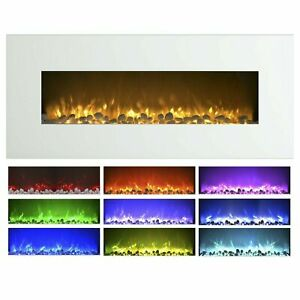 Large White Electric Fireplace with Color Changing Effects Remote 50 x 21