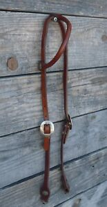 Vintage Circle Y Rolled One Ear Headstall Blue Stones 20111