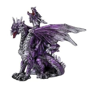 Purple Double Headed Dragon Figure Medieval Fantasy Collectible Decoration New