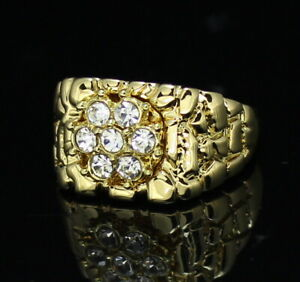 Mens Nugget Pinky Ring 14k Gold Plated Icy Cluster Cz Hip Hop Band $9.99