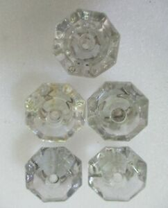 5 Antique Period Sandwich Glass Style Furniture Drawer Pulls Knobs Chest Drawer