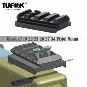 Pistol Sight Mount Plate Rail Mount for Micro Red Dot Sight fit Glock Aluminum