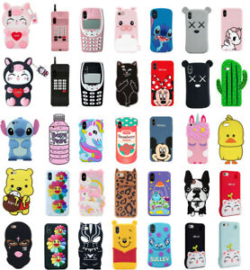 Case Cover For iPhone 5S 7 8Plus XS XR XS MAX Cute 3D Cartoon Silicone Kids Skin