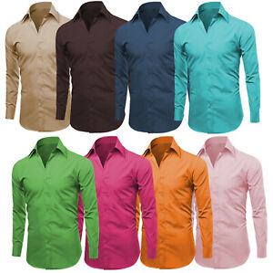 Men#x27;s Designer Long Sleeve Solid Button Up Casual Regular Fit Dress Shirt