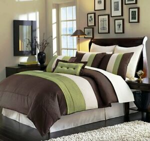 8 Piece Luxury Pintuck Pleated Stripe Green Brown and Beige Comforter Set