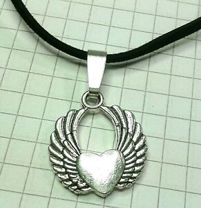 TIBETAN SILVER ANGLE WINGS HEART 1.1X1.7CM PENDANT ON 18 20quot; VELVET OR LEATHER GBP 2.95