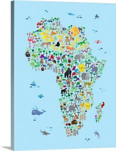 Animal Map of Africa for Kids Canvas Wall Art Print Childrens Home Decor