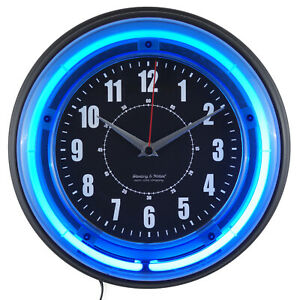 Retro Analog Wall Clock 11quot; Blue Neon Light Reliable Game Room Man Cave Bar Dorm