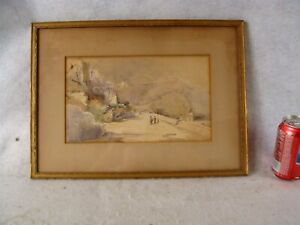Antique Signed Mountain Landscape W Figures W C Painting $95.00
