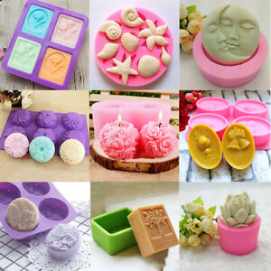 Silicone Soap Mould Cake Chocolate Tray Baking Tools Candle Molds DIY Crafts Kit