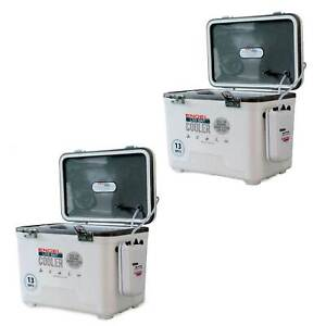 Engel 13 Qt Hard Sided Live Bait Fishing Dry Box Cooler with Pull Net (2 Pack)