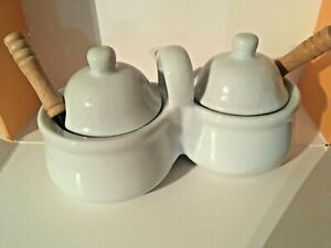 Condiment Double Dish White Porcelain with 2 Tiny Spoons Restaurant Quality $5.00