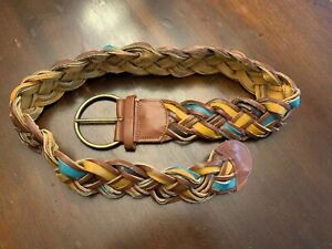 Womens Leather Braided Multi Color Belt Size L Boho Hippie $15.00