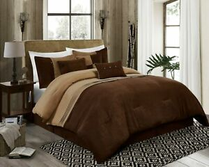 7 Piece Coffee Brown Western Lodge MicroSuede Pleated Striped Comforter Set