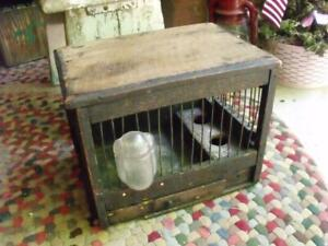 Small Rustic Primitive Antique Bird Cage Wood With Tin Wire Glass Water Bowl