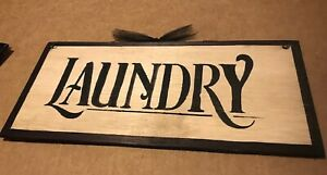 Laundry Room wooden sign country primitive wood farmhouse wall art decor  5x12
