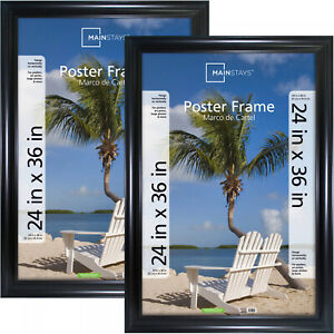Picture Photo Frame 24 x 36 Inch Wide Black Poster Sturdy Plastic Front Set of 2