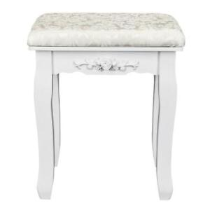 Vanity Wood Dressing Stool Padded Chair Makeup Piano Seat With Thick Cushion