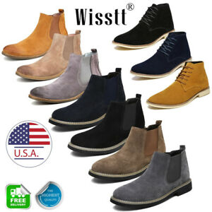 Men's Flat Suede Ankle Slip On Ankle Boots Smart Casual Desert Chelsea Shoes USA