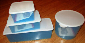 NEW Tupperware FridgeSmart Set of 4 Containers Rectangles, Square, Round  Blue