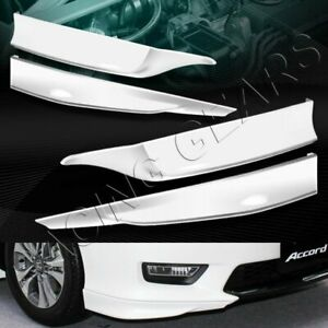HFP STYLE PAINTED WHITE FRONT+REAR BUMPER SPOILER LIP FIT 13-15 HONDA ACCORD 4DR