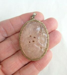 ANTIQUE ASIAN CARVED PINK FLOWERS OVAL SILVER PENDANT