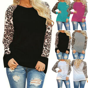 Womens Leopard Print Blouse Long Sleeve Plus Size Ladies T-Shirt Oversize Tops