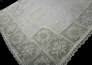 Vintage Antique Hand Embroidered Cotton Lace Small Pillowcase Pillow Slip Cover