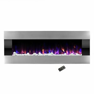 Stainless Steel Electric Fireplace with Wall Mount amp; Remote Fire and Ice 54 In