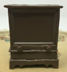 Vintage Dollhouse Miniature Plastic Wilton Brown Television TV Hong Kong