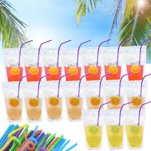 100PCS Drink Pouches Bags Straws Clear Stand Up Reclosable Zipper Pouches