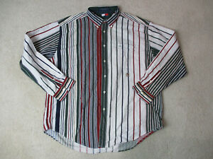 VINTAGE Tommy Hilfiger Button Up Shirt Adult Extra Large Green White Striped 90s