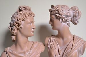 Apollo amp; Artemis Busts Terracotta Look Modern Sculptures 125 in $190.00