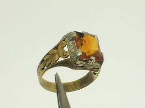 ANTIQUE 14K WHITE & YELLOW GOLD RING WITH SYNTHETIC CITRINE-SIZE 8.5 US-B.OFFER!