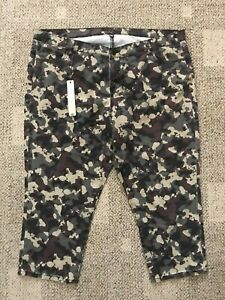 Kut From the Kloth Womens GreenBrown Camouflage Capri Pants Plus Size 20W