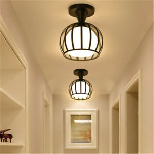 Modern Semi Flush Mount Ceiling Lamp Hallway Entryway Lighting with Metal Frame