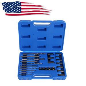 25Pc Screw Extractor Easy Out Drill & Guide Set Broken Screws Bolts Remover