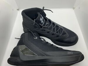 Men Under Armour UA Curry 3 Basketball Shoes Size 8.5Black Grey Gray 1269279 001