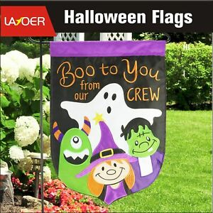 13 x 18 inch Boo Halloween Garden Flag Pumpkin Double Sided Applique Embroidered