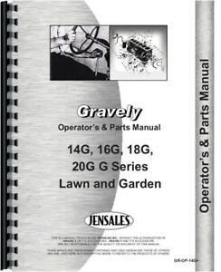 Operators & Parts Manual Gravely 16G 18G 20G 14G Lawn & Garden Tractor