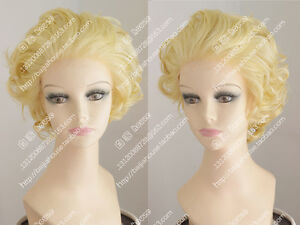 Lady Golden Blonde Curly Lace Front Short Wig Beautiful Marilyn Monroe Wig Hair