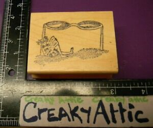 GIRLS SITTING UNDER LARGE SUNGLASSES RUBBER STAMP UNKNOWN CREAKYATTIC $5.40