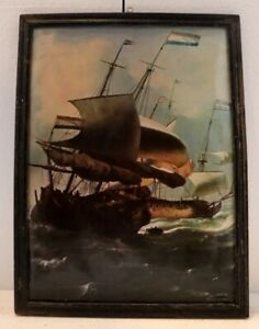 Antique Original Oil Painting Of Ship On Canvas Landscape Hand Painting 18x14