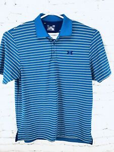 Mens Polo Shirt. Under Armour. Loose Heat Gear. Blue With Yellow Stripes. Large